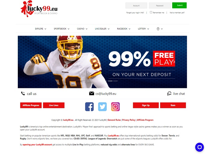 Lucky99 Sports Homepage